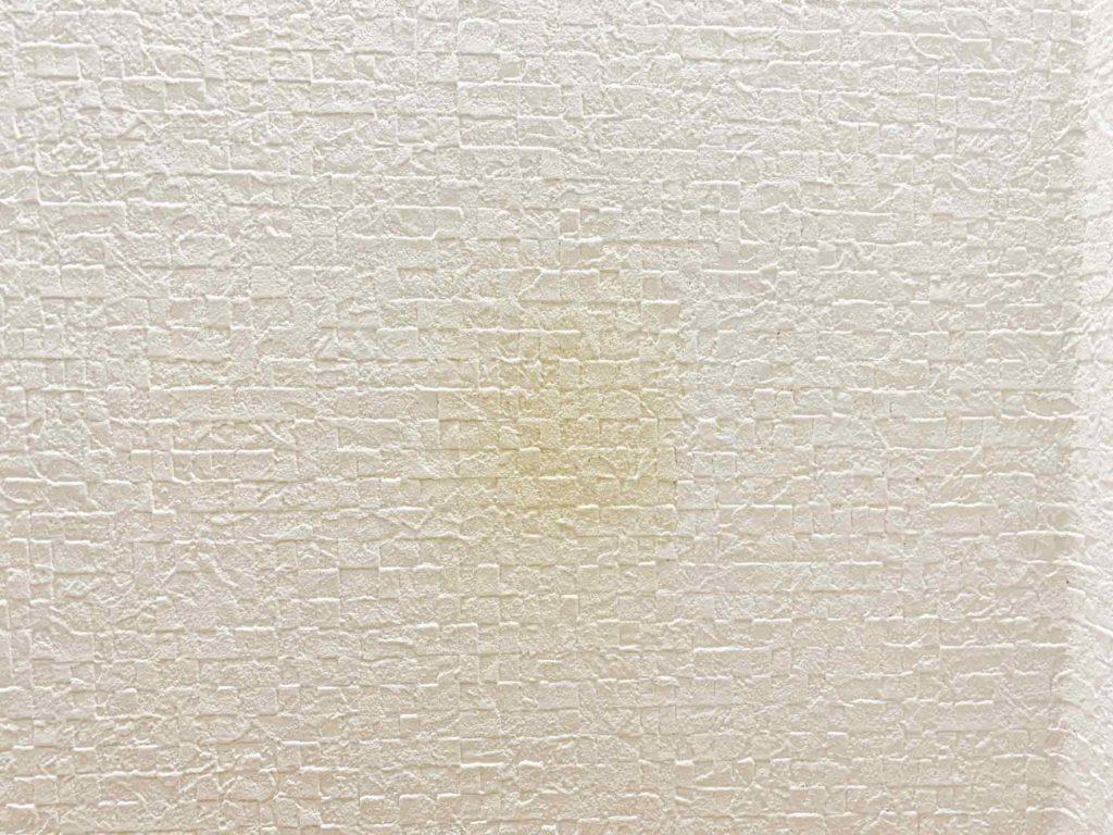 壁紙の黄ばみの左側半分をキッチンハイターで除去した