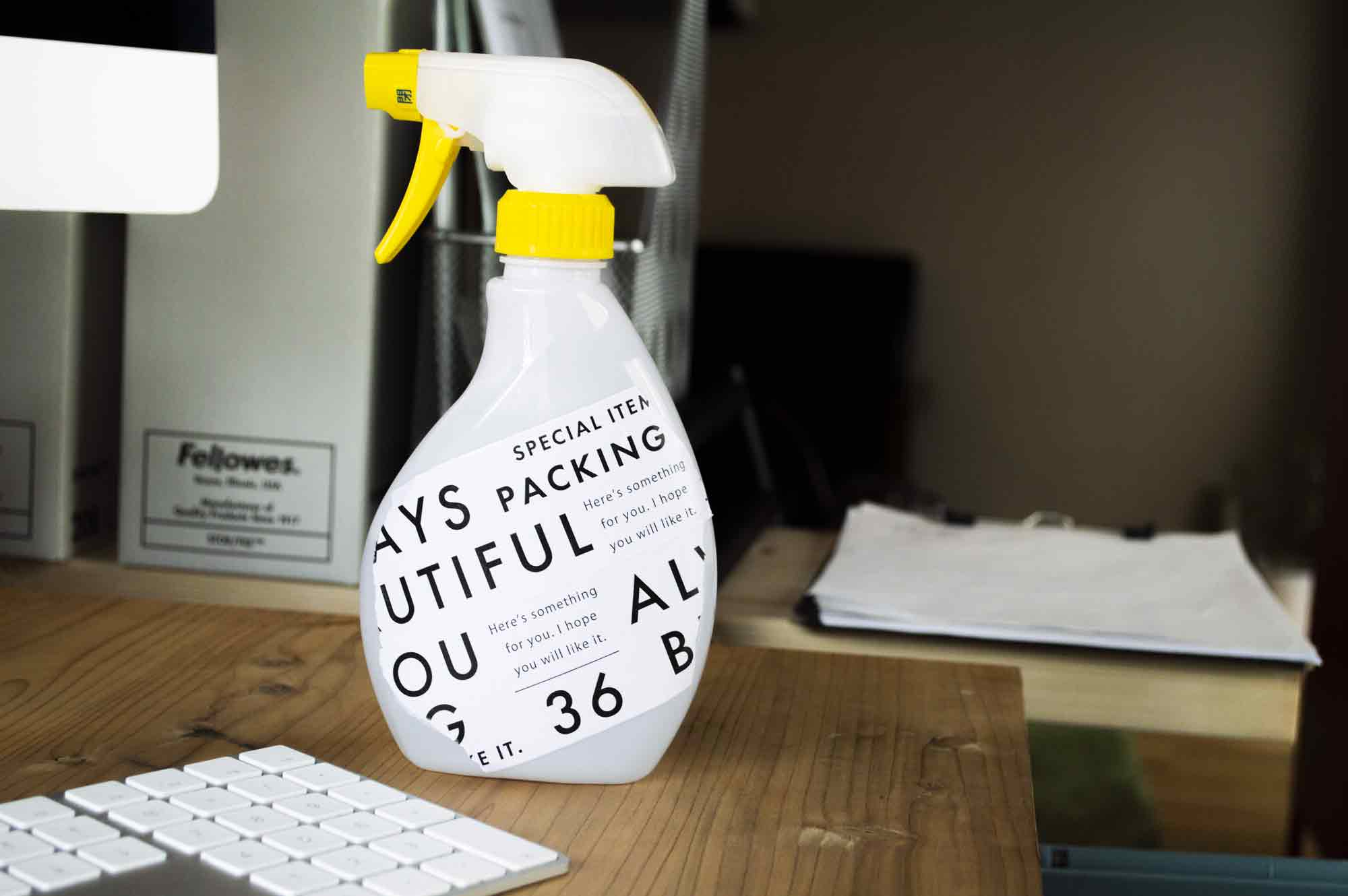 ラベルを変えて生活感を消したアルコールスプレーボトル