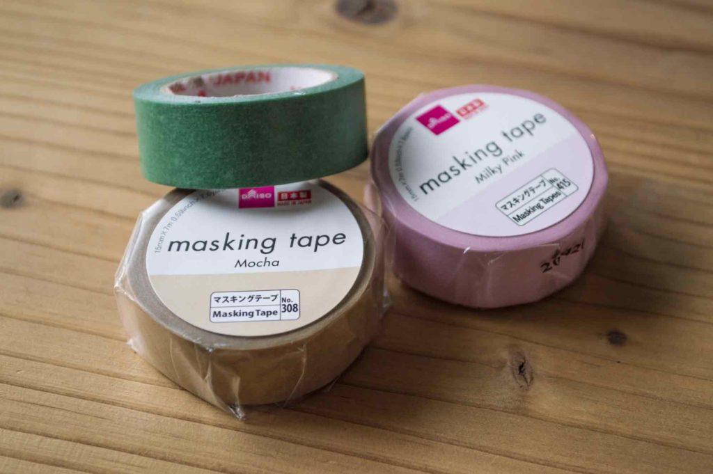 ダイソーのマスキングテープ(緑・茶・ピンク)