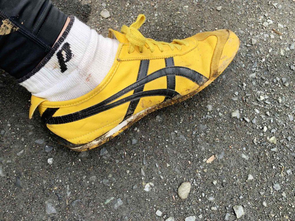 高尾山の登山で汚れた靴