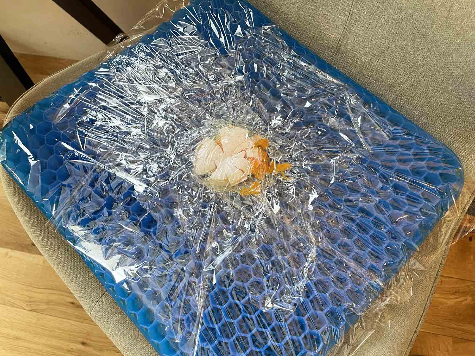 ドンキホーテのゲルクッションに生卵をセットして座ると卵は割れる