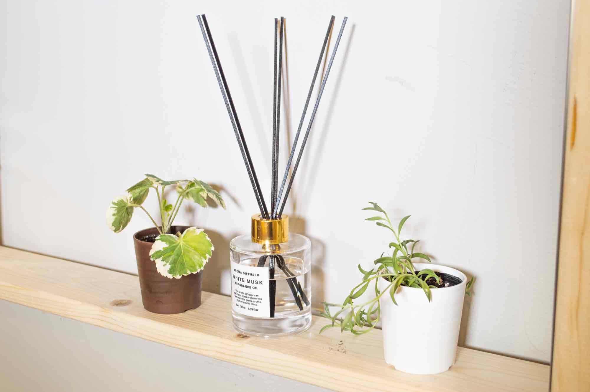 棚に置いたリードディフューザーと観葉植物